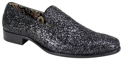 191a8e6eb6fe Men s Dress Casual Fancy Shoes Black Sparkly Slip On Loafers AFTER MIDNIGHT  6683