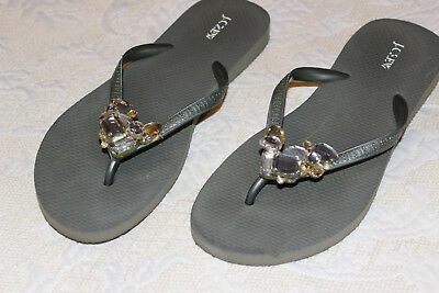 6d86b03c0a8e3 MYSTIQUE JEWELED LEATHER Thong Flip Flop Sandals Rhinestones size 6 ...