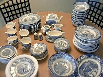 87 Piece Set of Vintage Liberty Blue Staffordshire China, Service for 10