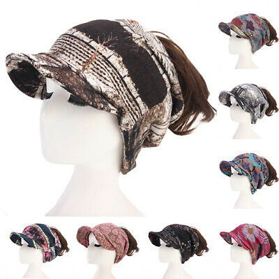 Hole Hat Women Hat Imitated Cashmere Bun Ponytail Beanie Floral Print Winter