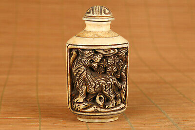 Antique chinese old hand carved tiger statue snuff bottle noble gift