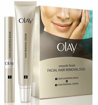 Olay Smooth Finish Facial Hair Removal Duo Skin Balm & Removal Cream Fine Medium
