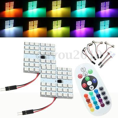 2x T10 Festoon BA9S RGB LED SMD 16 Colors Changing Car Interior Light + Remote