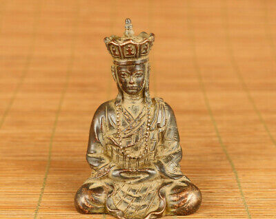 Rare chinese old bronze hand carved buddha tang seng statue figure collectable