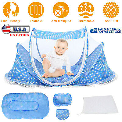 Foldable Infant Baby Mosquito Net Tent Travel Instant Crib Mattress Bed Pillow
