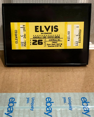"Elvis Presley 1977 Framed Reproduction Concert ""Ghost"" Ticket - Asheville, NC"