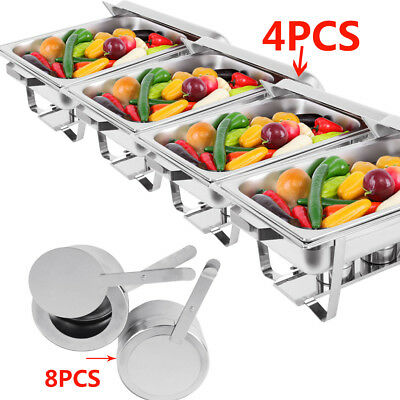 9L 4 Set Bain Maries Bow Chafing Dish Stainless Food Pan Buffet Warmer Stackable