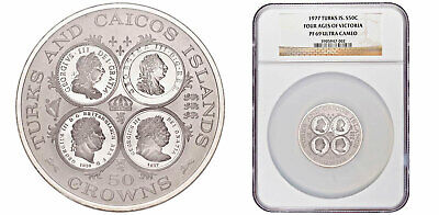1977 TURKS & CAICOS Silver Proof 50 Crowns 1977 NGC PF69 Ultra Cameo 958 Minted