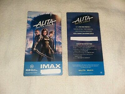 Alita Battle Angel Imax Ticket Regal Collectible # out of 1000 Free Poster Code