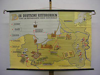 Schulwandkarte Wall Map Map German Knights State Prussia 117x81 ~ 1958