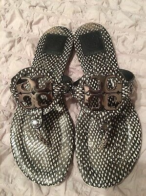 42660d1dc Tory Burch Black White Miller 2 Polka Dot Sandals Flip Flops 8 Authentic