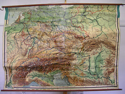 Large Schulwandkarte German Reich Alpengebiet 204x144 ~ 1920 Vintage Wall Map