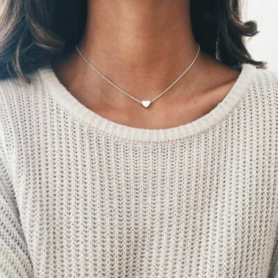 1piece Silver Plated Metal Tiny Heart Choker Chain Bib 35 + 10cm Necklace