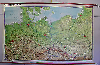 Schulwandkarte Map North Germany Pomerania East Prussia West 1977 242x153