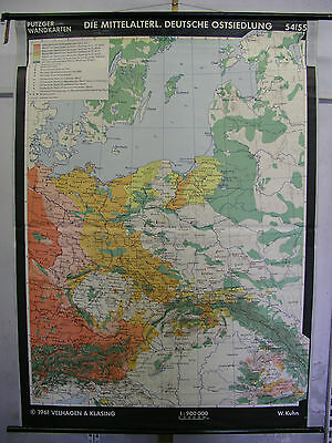 Schulwandkarte Wall Map Silesia Forest Prussia Medieval 54 5/16x74 3/8in 1961