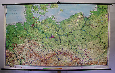 Schulwandkarte Map North Germany Pomerania East Prussia West 1965 240x146