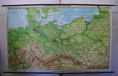 Schulwandkarte GDR North Germany Wall Map Prussia Prussia 1970 243x153 Map