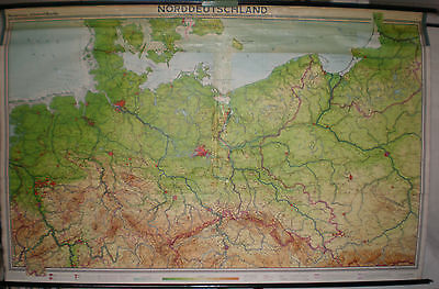 Schulwandkarte Map North Germany Pomerania East Prussia West 1962 240x154