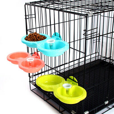 Pet Dog Cat Puppy Plastic Food Feeding Water Dispenser Dish Double Bowl Feeder