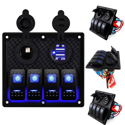AU! 4 Gang Car Boat Marine LED 12V/24V USB Switch Panel Automotive Toggle Rocker
