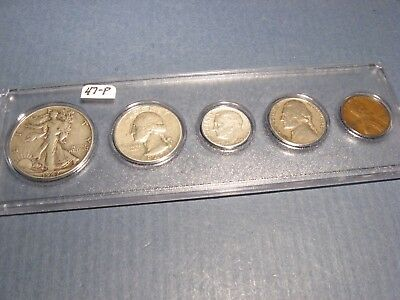 1947 PHILADELPHIA Mint Birth year 5 coin MATCHED set ~ circulated ~ nice gift