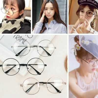 afea1a628b9e Women Men Large Oversized Metal Frame Clear Lens Round Circle Eye Glasses  Nerd