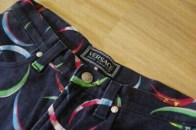 Gianni VERSACE Jeans Signature Vintage | Crescent Print | Size 31, Made In Italy