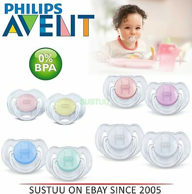 Avent Dynamic Orthodontic Pacifier Dummy Translucent Silicone Baby Soother Clear