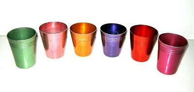 Vintage Set of 6 Retro Anodised Aluminum Cups Assorted Colours Harlequin Pattern