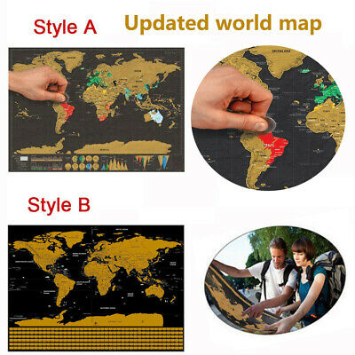Deluxe Scratch Off World Map Poster Journal Log Giant Map Of The World Gift US