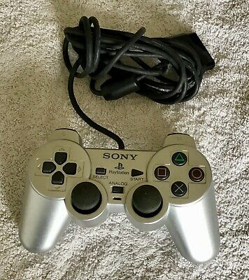 Official Sony PlayStation 2 PS2 Silver DualShock 2 Analog Controller SCPH-10010