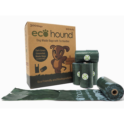 Ecohound 300 Dog Poo Bags With Tie Handles | Medium Dog Waste Bags.