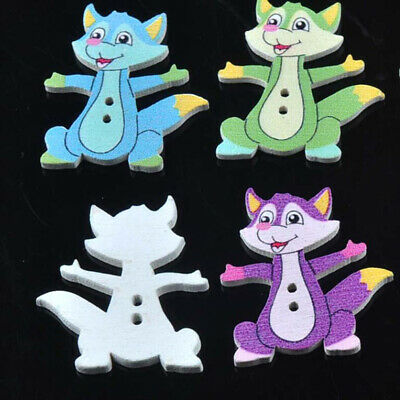 50Pcs Fox Wooden Buttons Decorative Craft DIY Clothing Scrapbooking Sewing 6A