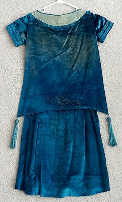 ANTIQUE Vintage 1920's HIGH FASHION Flapper ART DECO Silk Velvet TASSEL Dress