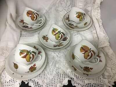 Set Of 5 Royal Worcester Evesham Gold Trios Cups Saucers Side Plates