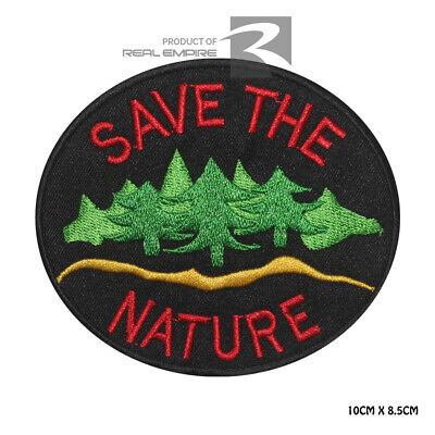 Save the Nature Novelty Embroidered Iron on Patch Sew on Badge