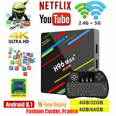 H96 Max Plus Android 8.1 4GB 64GB TV Box RK3328 4K USB3.0 2.4&5G WiFi Multimédia