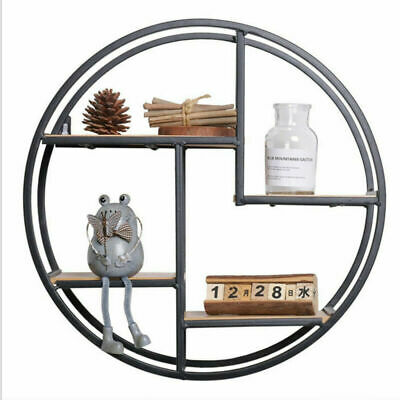 Vintage Round Wall Unit Retro Wood Industrial Style Metal Shelf Rack Storage UK