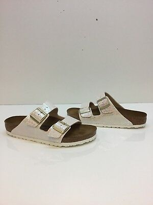 6378fd94421 Birkenstock Arizona Shiny Snake Cream Birko-Flor Buckle Sandals Women s  Size 40