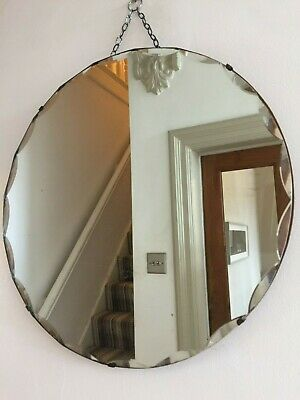 Round Vintage Frameless Mirror Scalloped Bevelled Edges Original Chain 48cm m142