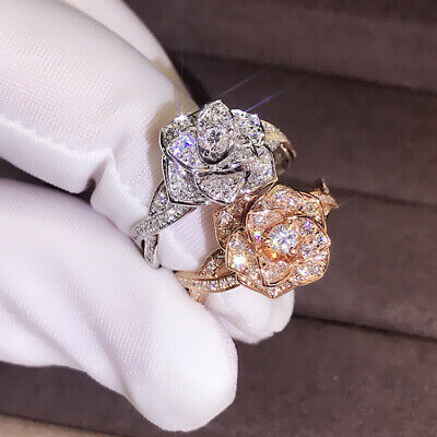 Luxury Silver Rose Gold Full Crystal Rose Flower Ring Engagement Women Jewelry