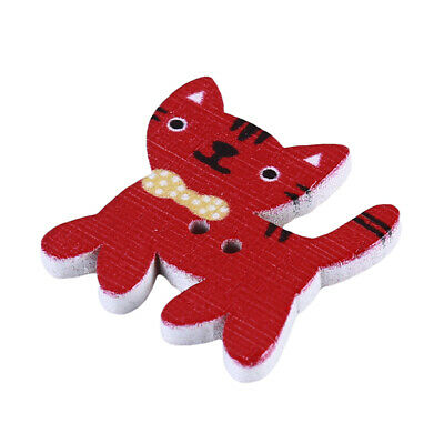 50 pcs Wood Animals Cat Shaped 2 Holes Wooden Buttons Sewing Scrapbooking 6A
