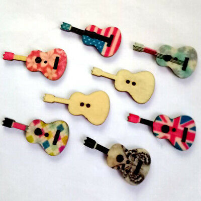 50 pcs Wood Violin Shaped 2 Holes Wooden Buttons Sewing Scrapbooking Supplies 6A