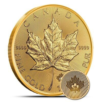 2019 1 oz Gold Canada Incuse Maple Leaf $50 Coin .9999 Fine Gem BU