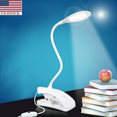 USB Charging LED Light Dimmable Clip-On Desk Table Night Light Bed Reading Lamp