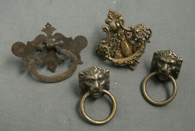 4 Antique Brass Drawer Pulls - Lion Heads W/ Pull Ring, Etc - Ca 1900S - 51