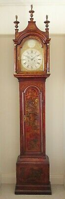 Outstanding 18th Century Red Lacquer Chinoiserie Longcase Clock