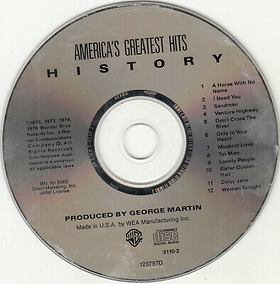 History: America's Greatest Hits by America (CD Jul-1987 Warner Bros.) DISC ONLY
