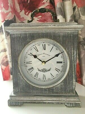 Vintage Limewashed Wood Mantle Clock Rustic Roman Number Shabby Chic Table Clock