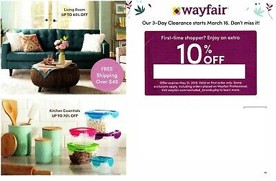 WayFair Online Coupon 10% off Expires 05/31/2019 - 1st Order Only!